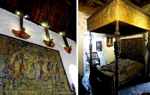 Tapeçaria e dormitório do Castelo de Bunratty, Limerick, Irlanda