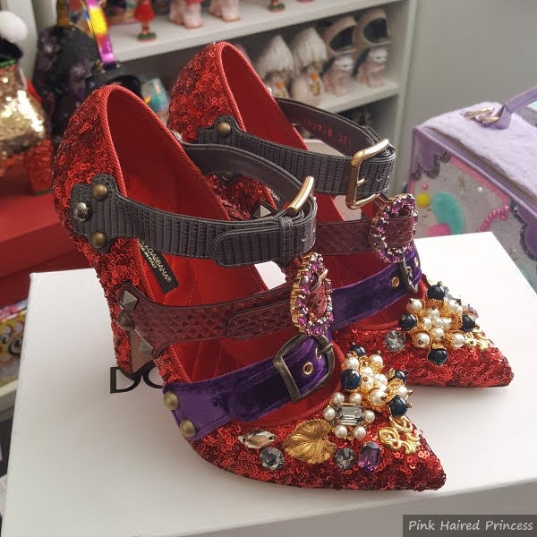 Dolce & Gabbana red sequins shoes with embellishments at toe