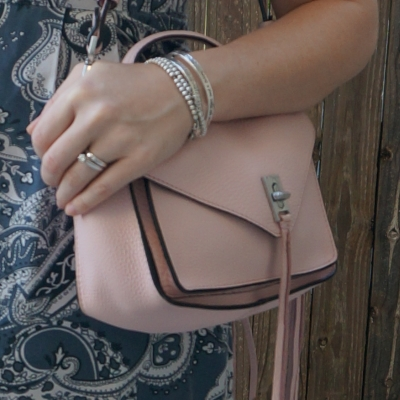 silver accessories and Rebecca Minkoff small Darren messenger bag in peony | away from the blue