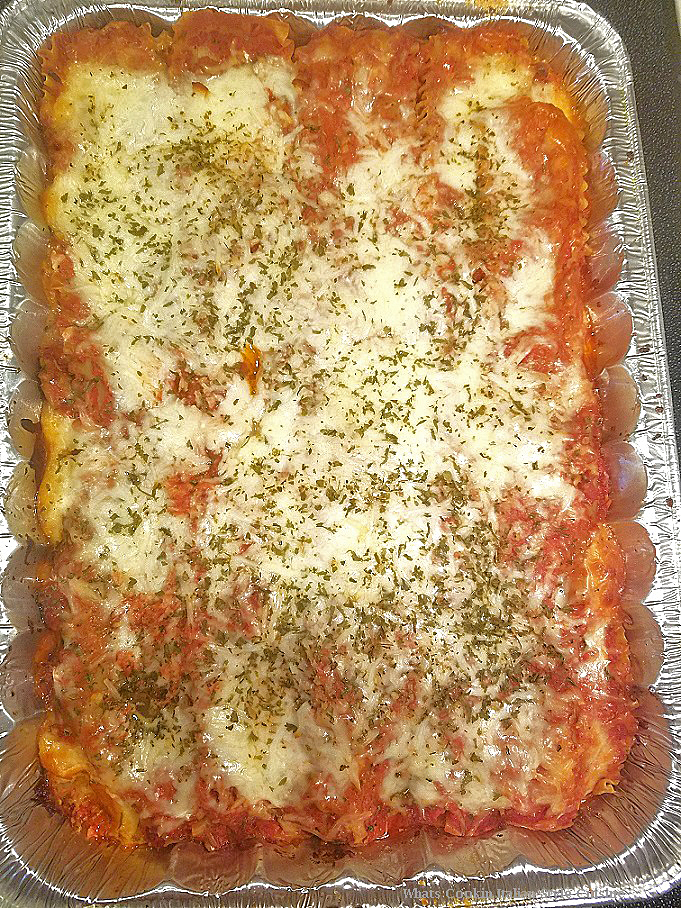 Lasagna getting ready to be baked in the oven
