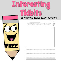 FREE My Interesting Tidbit A Back to School Activity