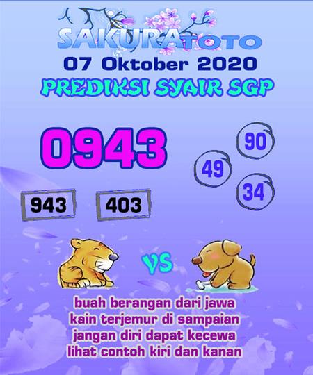 Prediksi Sakuratoto SGP Rabu 07 Oktober 2020