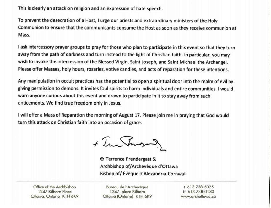 Catholic News World : Archbishop of Ottawa asks for Prayers