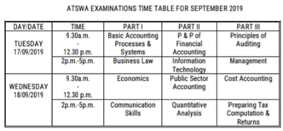 ICAN ATSWA Timetable For September 2019 Examination