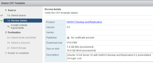 Nakivo: Instalar virtual appliance