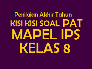 KISI KISI SOAL IPS untuk PAT KELAS 8