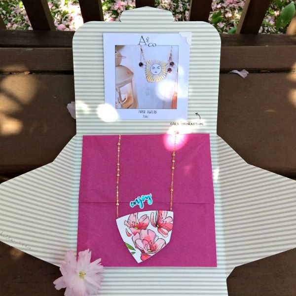 interior packaging for paper jewelry contains watercolor floral paper necklace