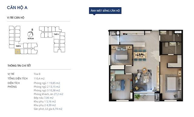 Mặt bằng chi tiết căn hộ 110,4 m2 - Rivera Park Hà Nội