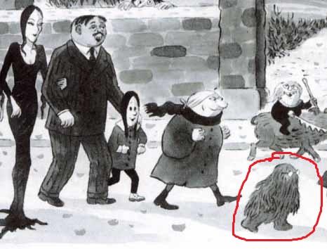 Desenho dos personagens de charles Addams