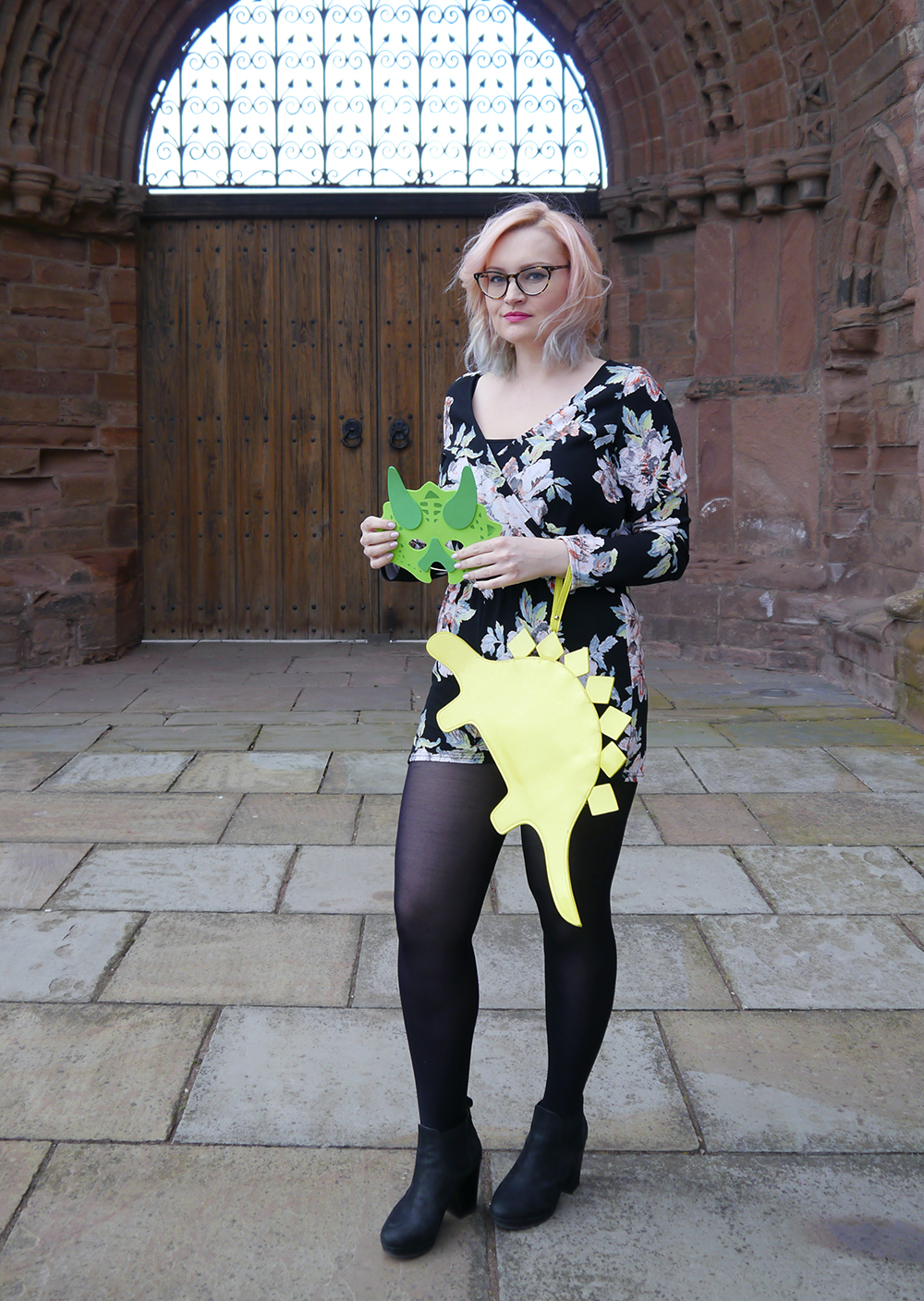 dinosaur themed fashion shoot, Arbroath Abbey, floral Boohoo jumpsuit, pnk and blue ombre hair DIY,
