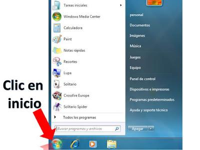 inicio de windows 7 nos muestra todas las opciones y programas que tiene nuestro equipo con sistema operativo windows 7