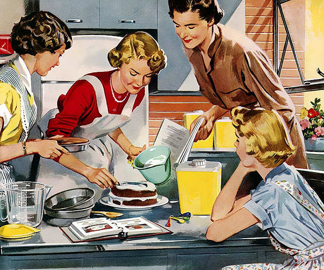 A group of women baking a cake around the kitchen counter