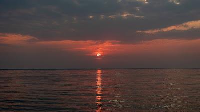 Wallpaper Sea, Horizon, Clouds, Sunset, Shine