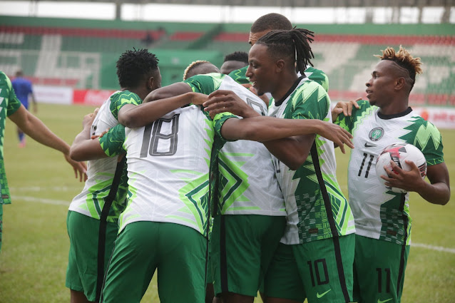 Super Eagles players celebrate goal against Sierra Leone