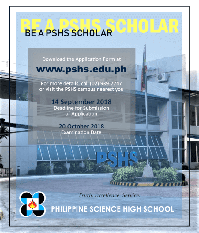 Philippine Science High School Entrance Exam 2018 details