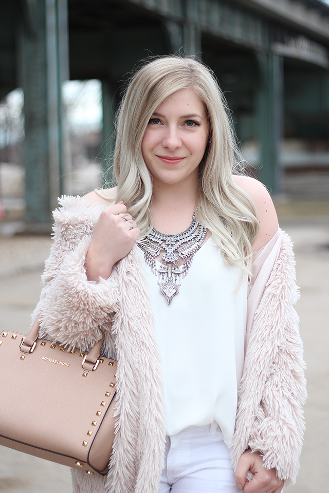 White and Blush spring outfit inspiration // via Canadian style blog Pretty Little Details