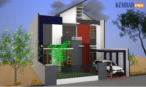 Rumah Minimalis-Gambar Tampak Samping Kiri Type 150