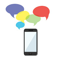 Smartphone with word bubbles