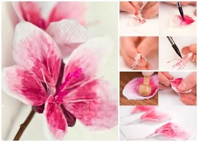 Cómo hacer una Flor de crepé. Estambres de hilos