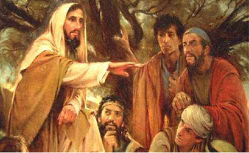 Resultado de imagem para painting of jesus talking with three disciples