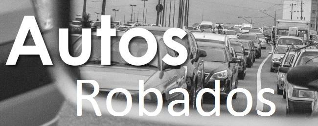 Texto de Autos Robados con una fila de autos en color blanco y negro