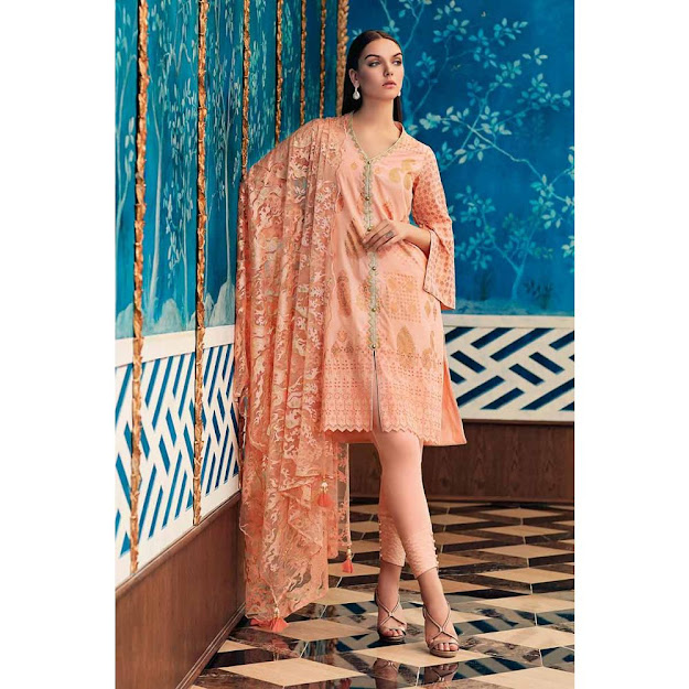 Gul Ahmed lawn peach color printed embroidered suit