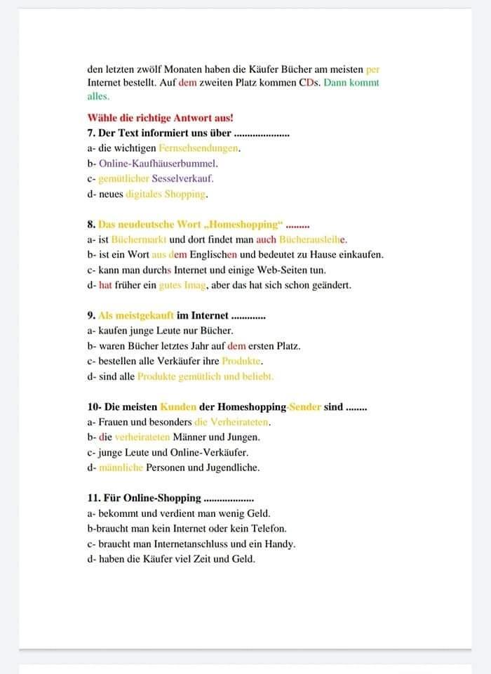 جمعية مدرسي اللغة الألمانية: 30 خطأ فني في امتحان اللغة الالمانية للثانوية العامة والقطعة مستوى A2 4