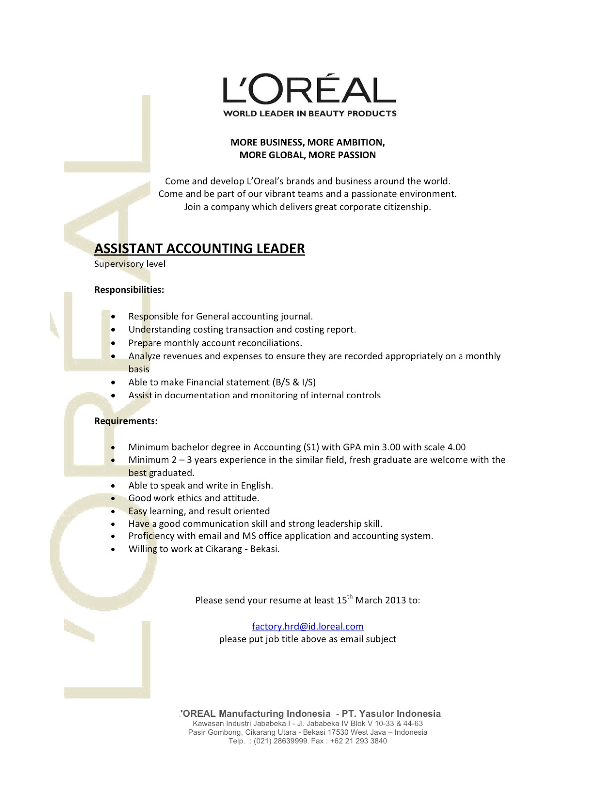 Contoh Application Letter And Curriculum Vitae