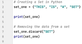 Remove the data from a set in Python