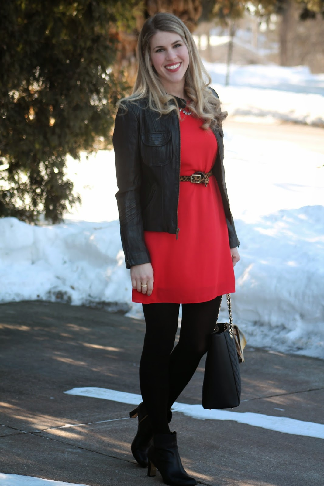 red dress black moto jacket