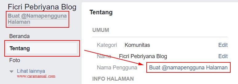 Membuat Nama Pengguna Halaman Facebook