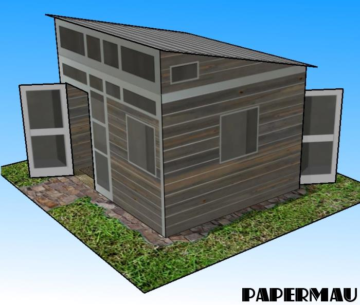 Papermau the modern shed paper model by papermau for How to build a modern shed