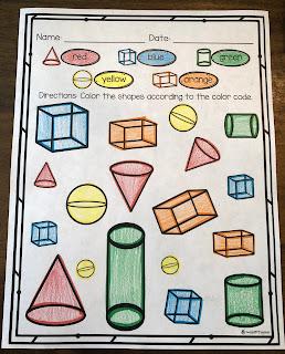 Coloring by shape worksheet
