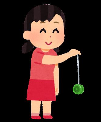 ヨーヨーで遊ぶ女の子のイラスト