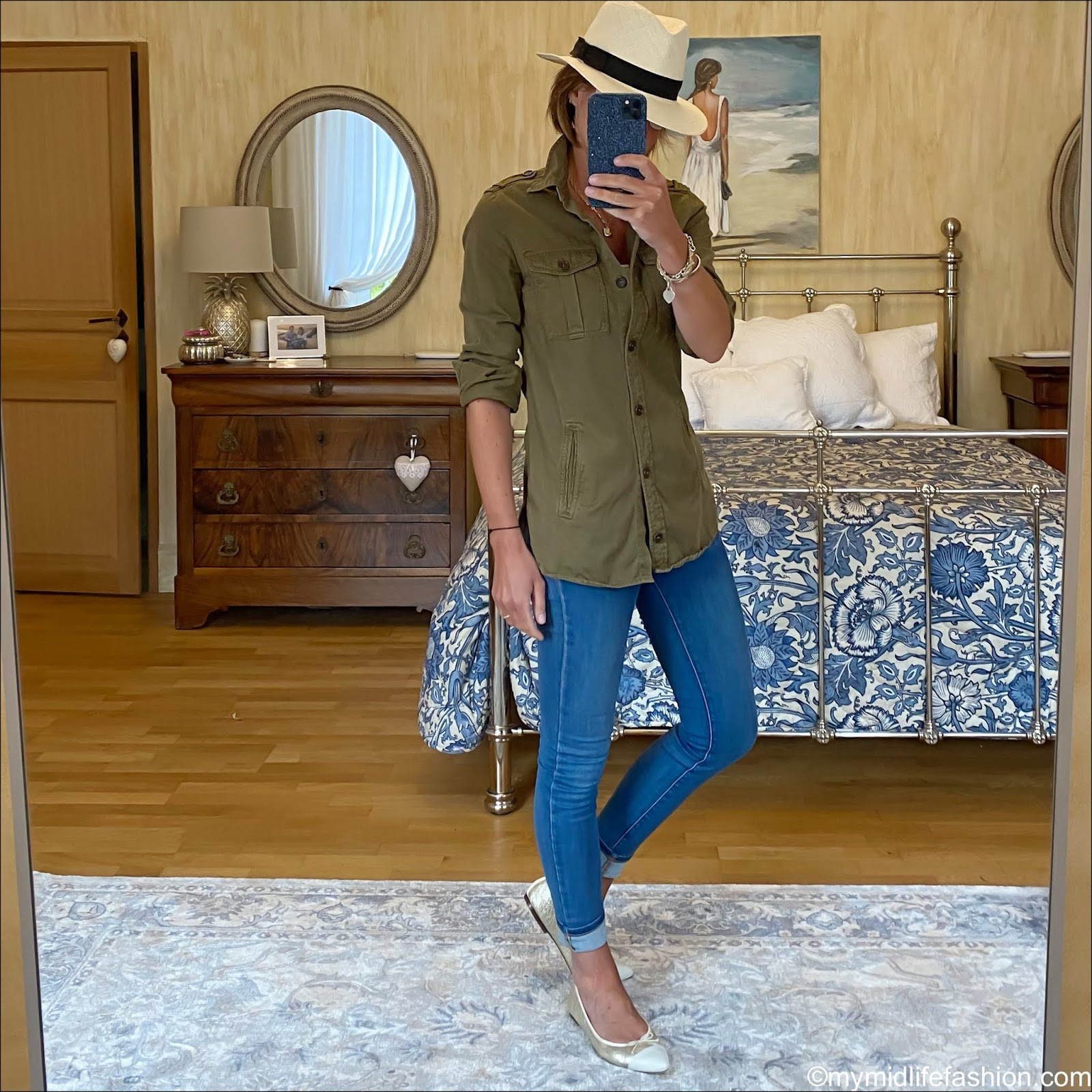 my midlife fashion, h and m Panama hat, Isabel Marant Etoile military shirt, white stuff skinny jeans, j crew two tone pointed ballet pumps