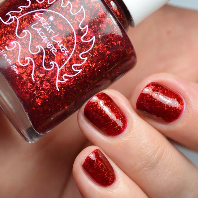 red flakie nail polish