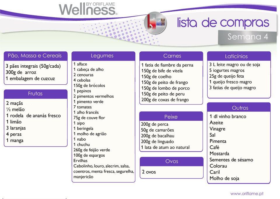 Top Dieta Semanal - Lista de compras - Receitas | Wellness (4  FJ44