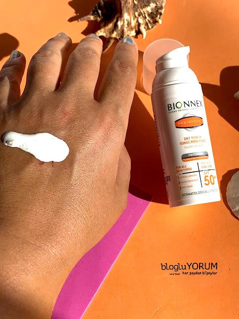 Bionnex Preventiva Dry Touch SPF 50 Yüz ve Boyun İçin Güneş Kremi swatch