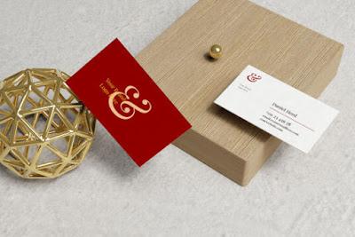 Business Cards on Wood Mockup Set