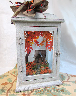 Lisa Hoel - fall lantern decor, little shack in a pumpkin patch!  #creativejuicefreshsqueezed #sizzix #mymakingstory #tim_holtz #minihouse #VillageDwellings #falldecor