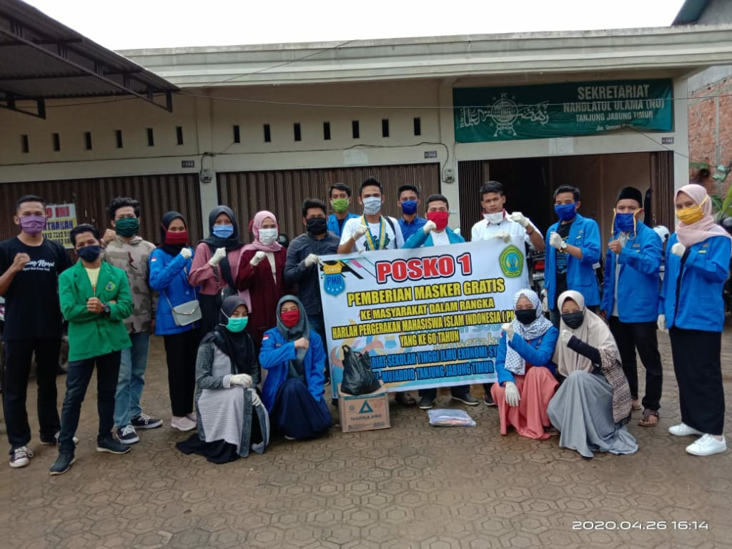 Antisipasi Penyebaran Virus Corona, PMII Tanjabtim Bagikan Masker Gratis ke Masyarakat