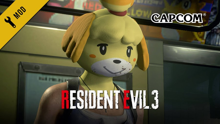 resident evil 3 remake mod isabelle mask animal crossing jill valentine survival horror capcom nintendo pc