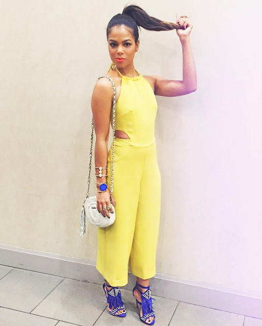 rocio rodriguez fashion maracas nyfw15 ootd total yellow outfit, blue  fringe shoes
