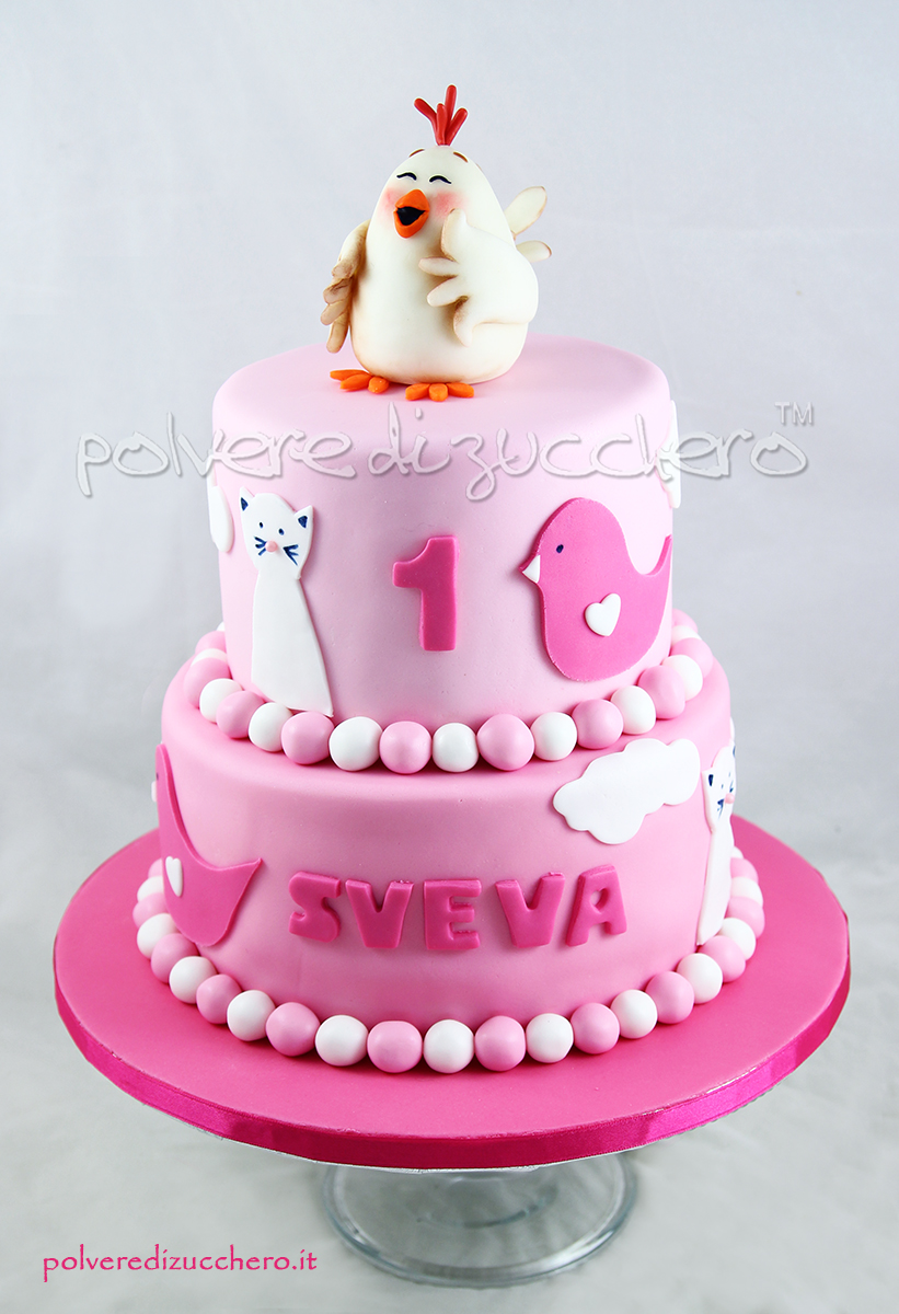 compleanno torta cake design torta decorata chicken gallina bambina girl polvere di zucchero pasta di zucchero bday hbd