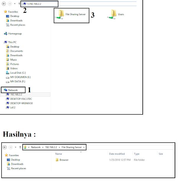 Pengujian sharing folder pada windows 7,8,10