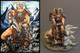 statuetta da disegni scultura da schizzo modellino guerriero teschio drago orme magiche