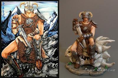 modellino fantasy realizzato partendo da un disegno guerriero spadone armatura orme magiche