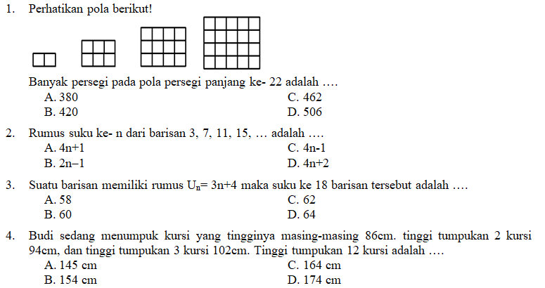 Kisi-Kisi, Soal dan Kunci Jawaban Matematika SMP Kelas 8 ...