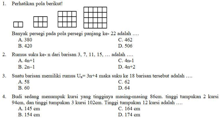 Kisi Kisi Soal Dan Kunci Jawaban Matematika Smp Kelas 8 Pas Semester Ganjil Didno76 Com