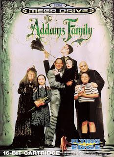 Portada del cartucho de 16 bits de The Addams Family de 1993 para la Sega Genesis/Megadrive. El arte gráfico se ambienta en los personajes de la película de 1991